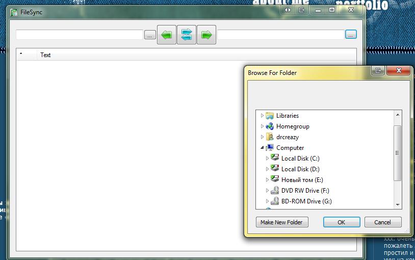 Синхронизация файлов. Внешний вид программы
